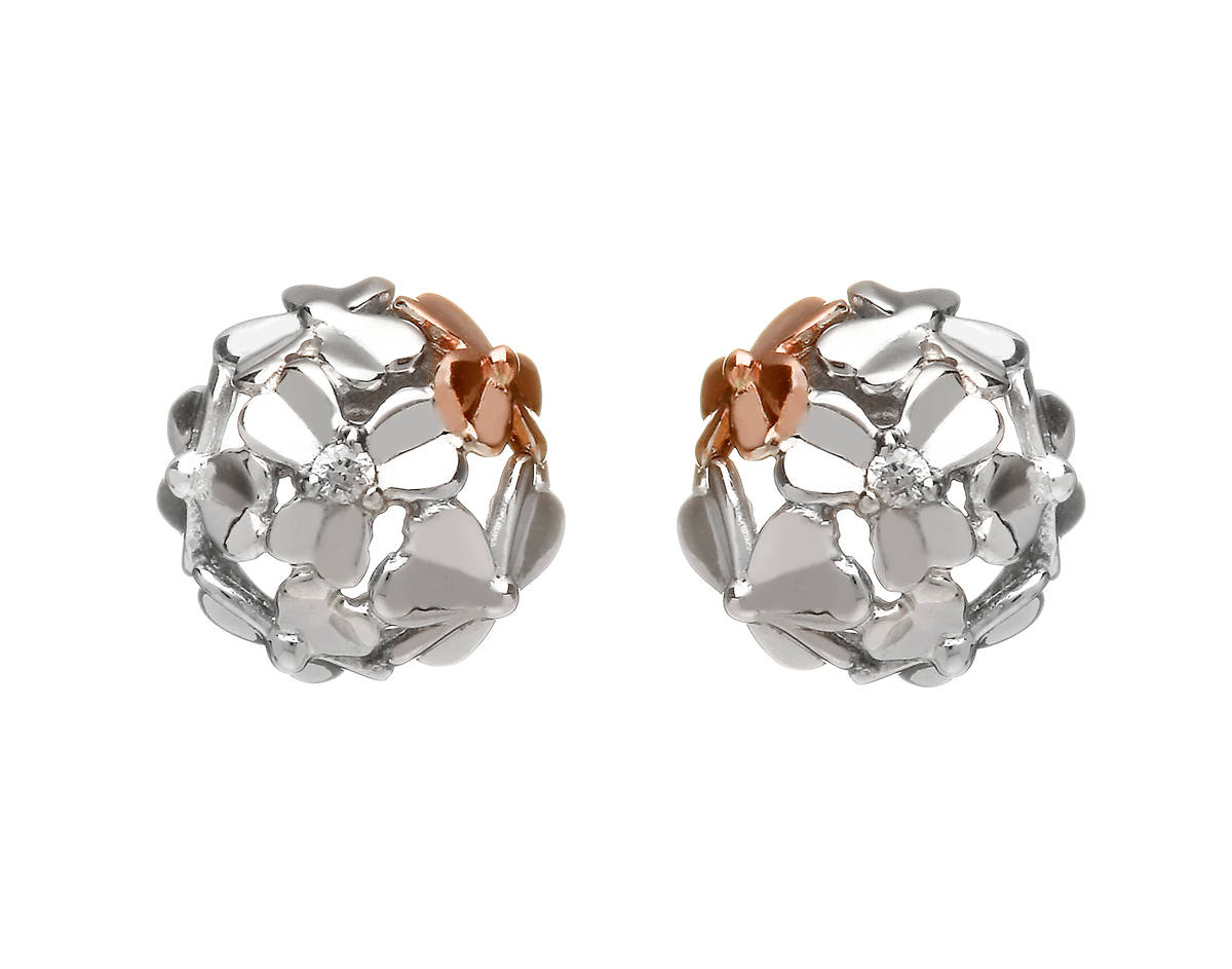 diamond set 9 carat white gold love shamrock stud posy earrings with one rara Irish rose gold flower.