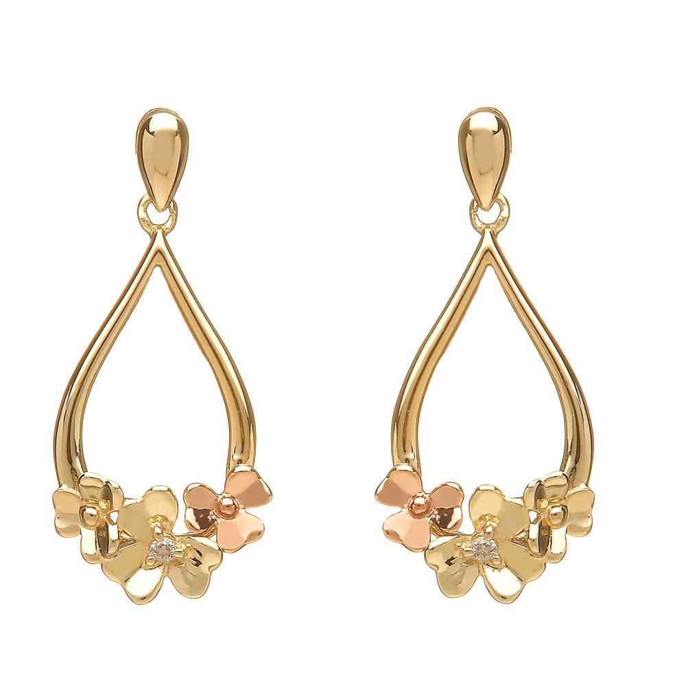 diamond set 9ct yellow gold love shamrock posy earrings
