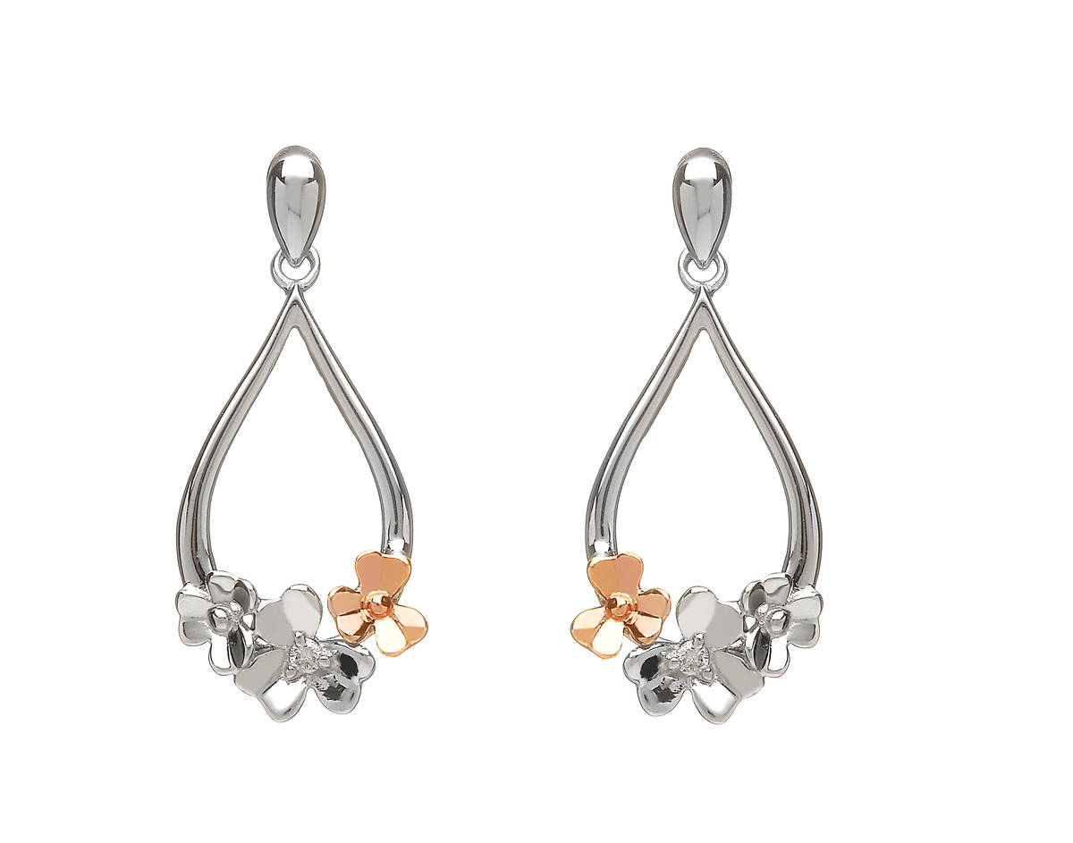 diamond set 9ct white gold love shamrock posy earrings