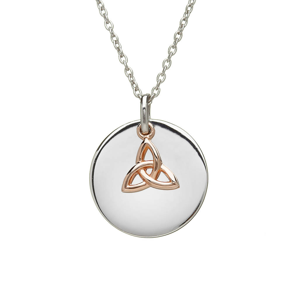 House of Lor silver round disc with hanging rose gold Trinity Knot made from rare Irish gold