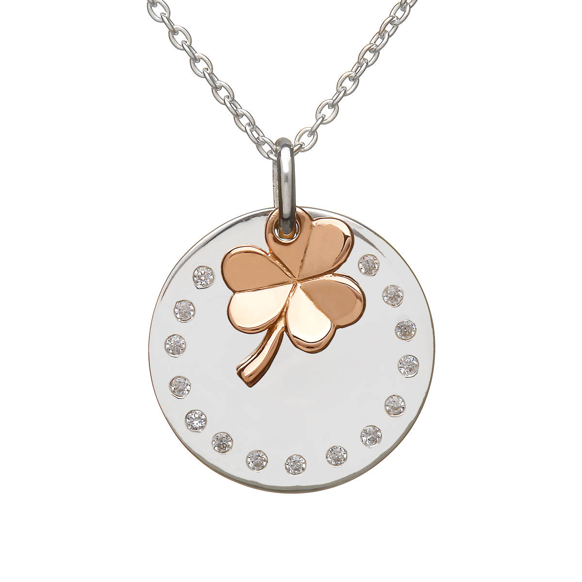 House of Lor silver round cz disc with hanging rose gold Shamrock made from rare Irish gold