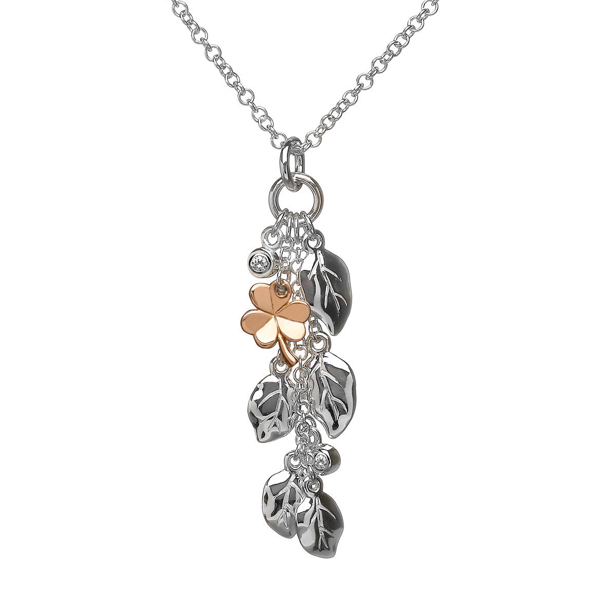 House of Lor silver drop Flora and Fauna pendant with rose gold Shamrock made from rare Irish gold