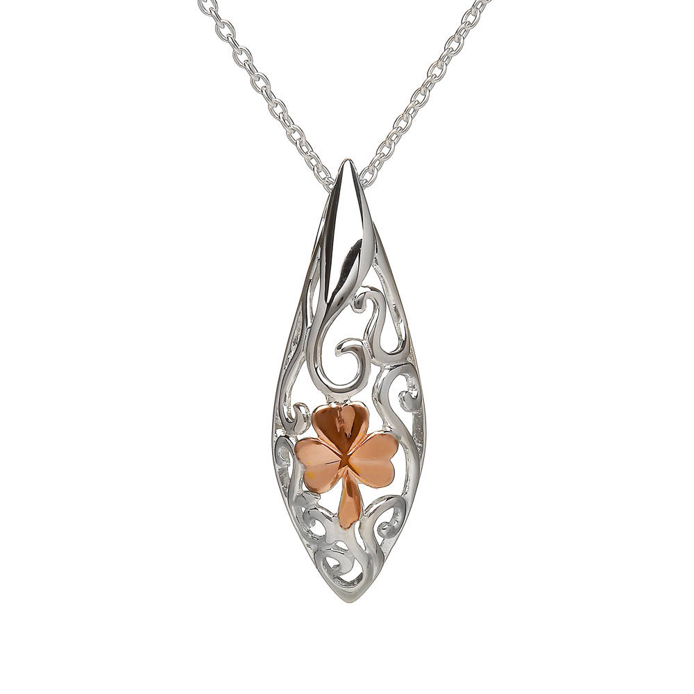 House of Lor silver Celtic pendant with rose gold Shamrock made from rare Irish gold