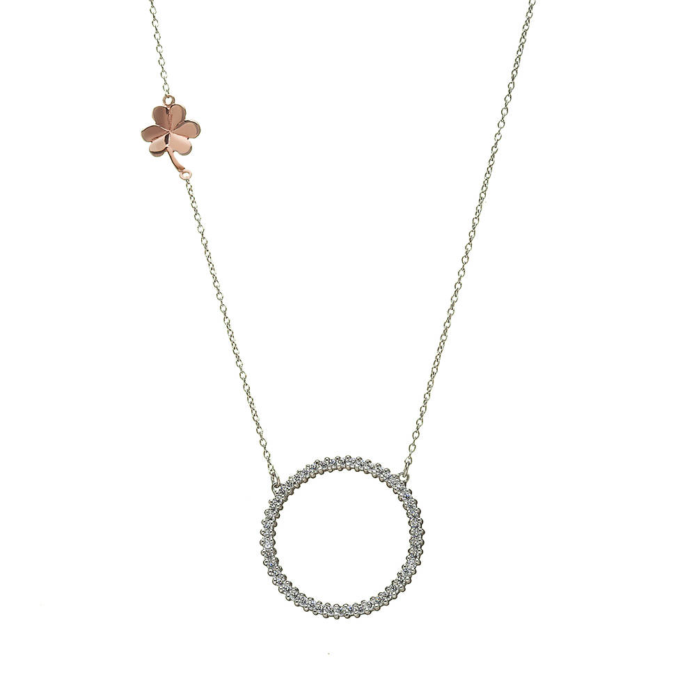 House of Lor silver round cz necklet with rose gold Shamrock on chain made from rare Irish gold