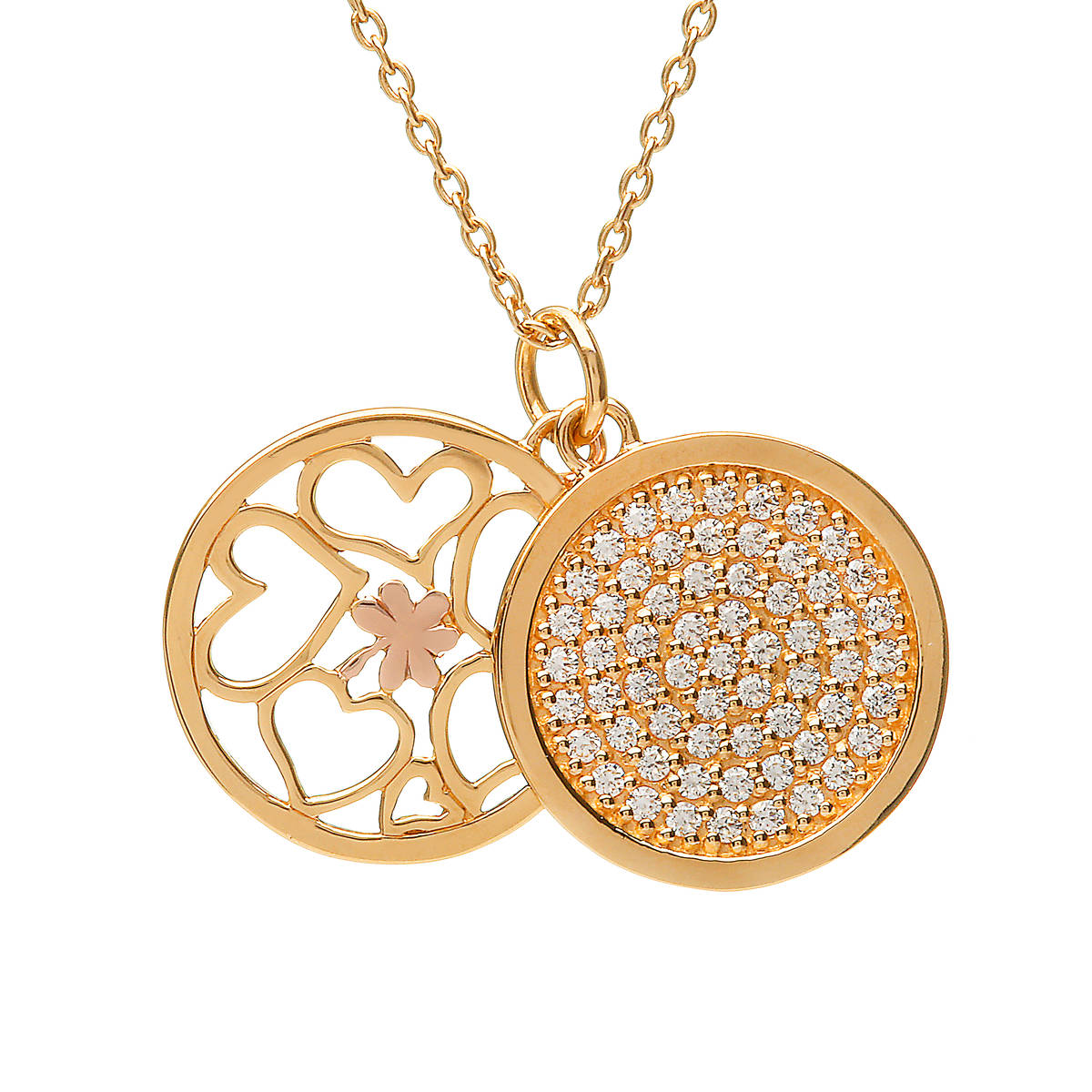 House of Lor silver GP double round cz pendant with rose gold Shamrock made from rare Irish gold