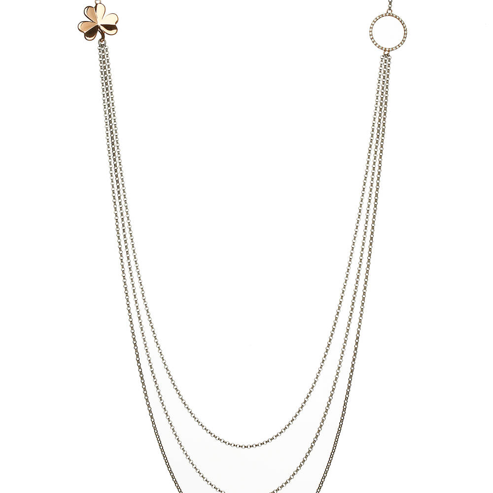 House of Lor silver 3 strand necklet with GP Shamrock rose gold circle made from rare Irish gold