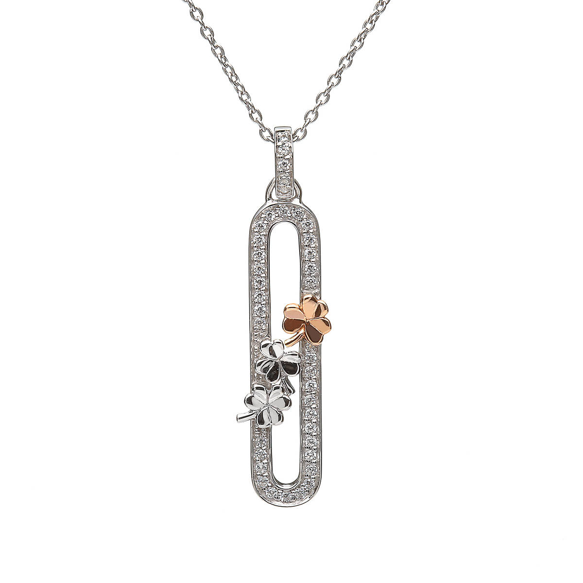 House of Lor silver cz pendant with silver Shamrocks 1 rose gold Shamrock made from rare Irish gold