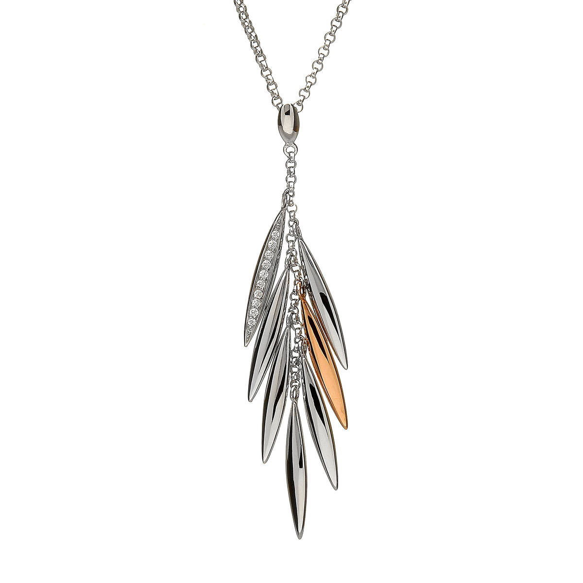 House of Lor silver/rose gold feather pendant 1 feather made from rare Irish gold