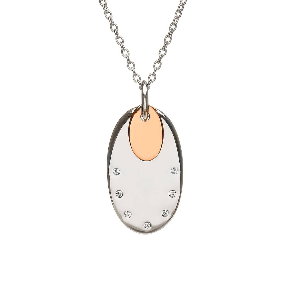 House of Lor silver oval cz disc with oval rose gold disc made from rare Irish gold