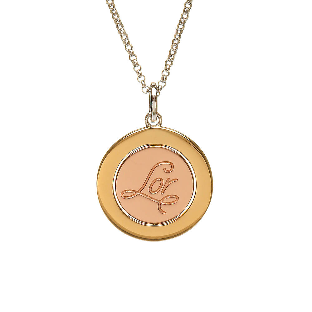 House of Lor silver/gold plated round Lor disc pendant with rose gold inner disc made from rare Irish gold