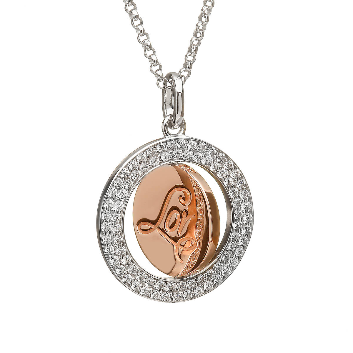 House of Lor silver cz round Lor disc pendant rose gold inner disc made from rare Irish gold