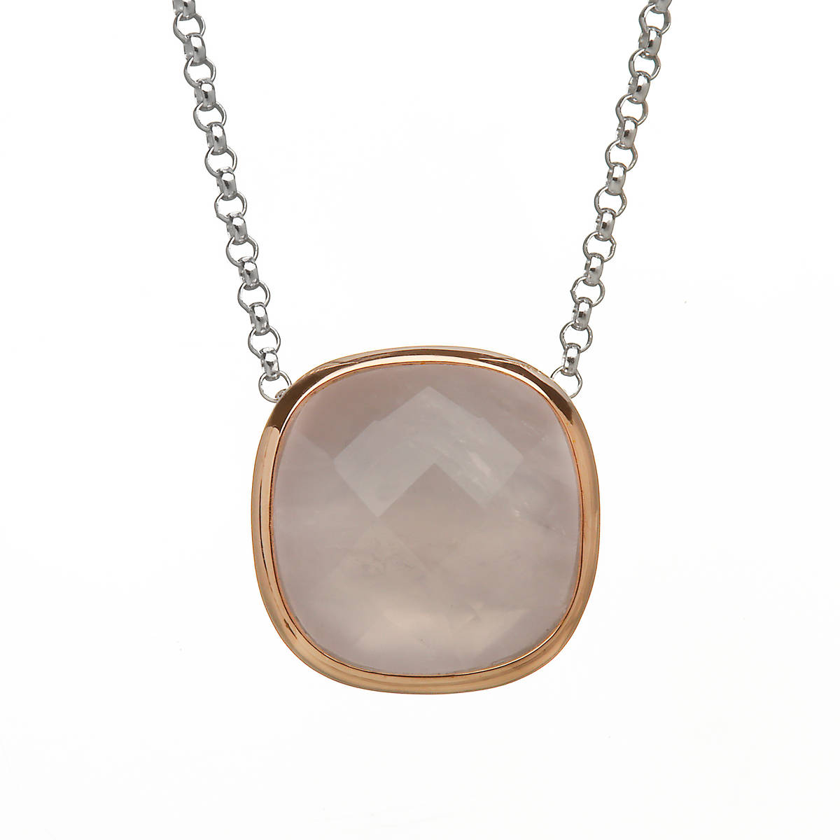 House of Lor silver/rose gold pendant with rose quartz stone outer rim made from rare Irish gold