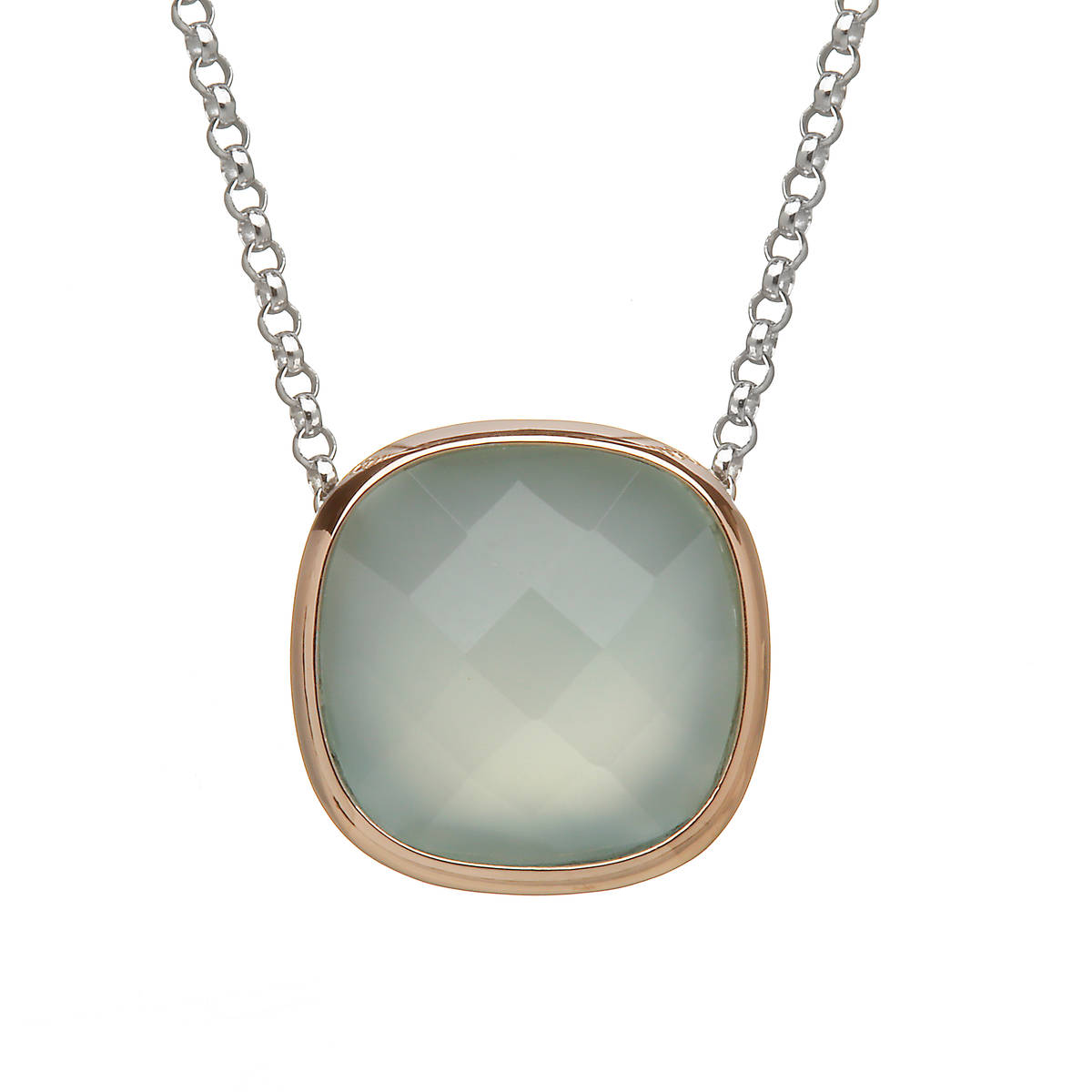 H of L silver/rose gold pendant with blue chalcedony stone outer rim made from rare Irish gold