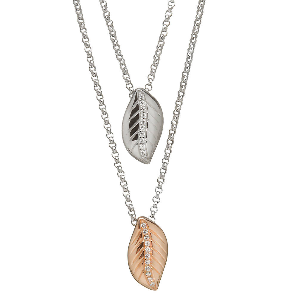 House of Lor silver/rose gold double leaf pendant bottom leaf made from rare Irish gold