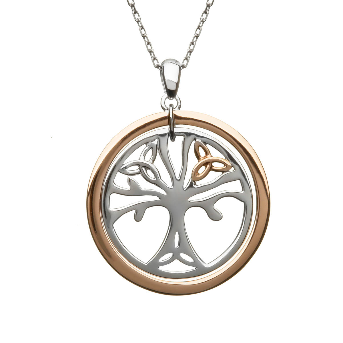 House of Lor silver/rose Tree of Life pendant made from rare Irish gold