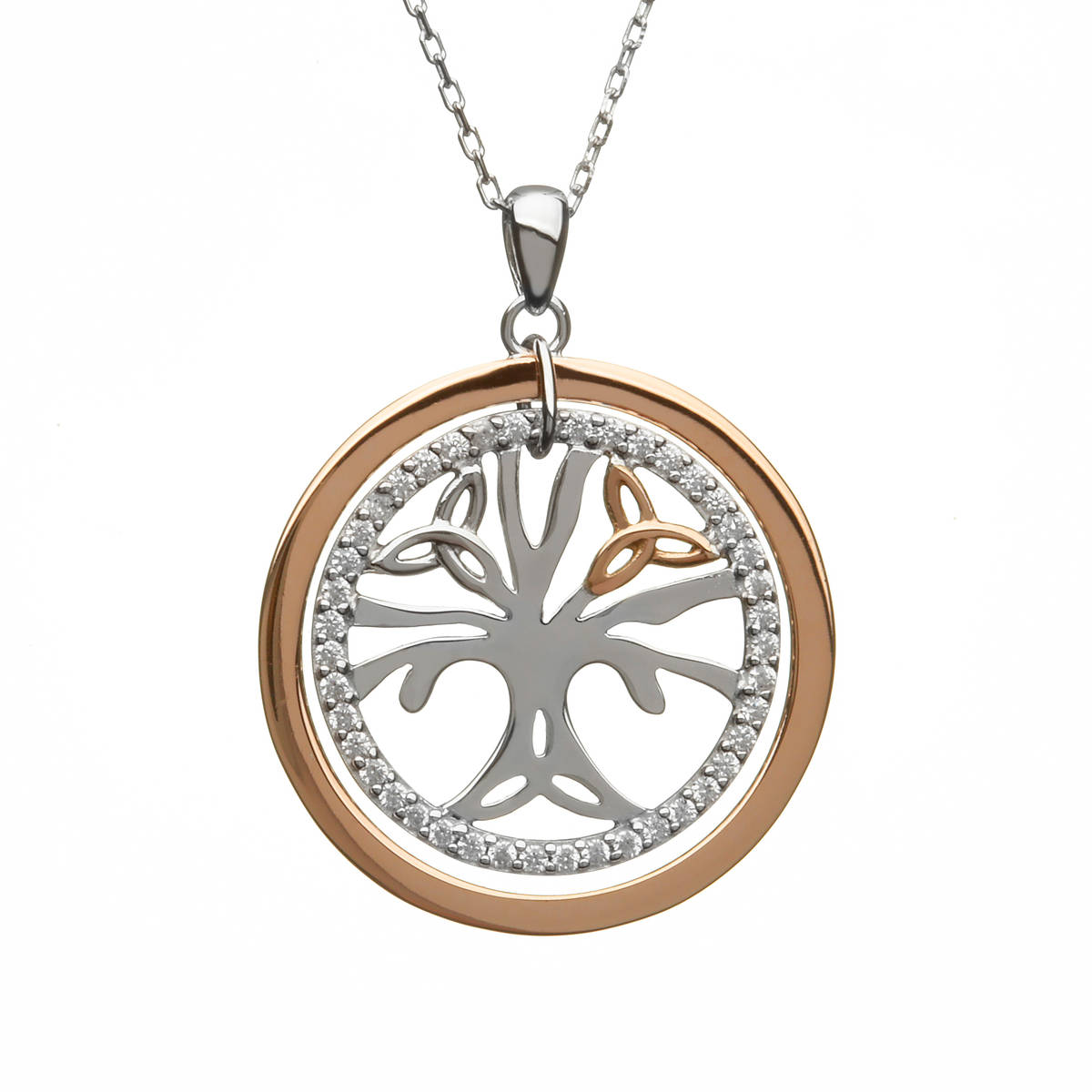 House of Lor silver/rose Tree of Life cz pendant made from rare Irish gold