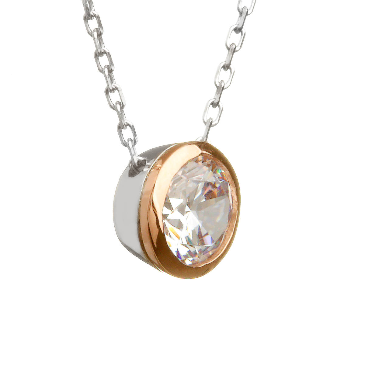 House of Lor silver/rose cz pendant made from rare Irish gold