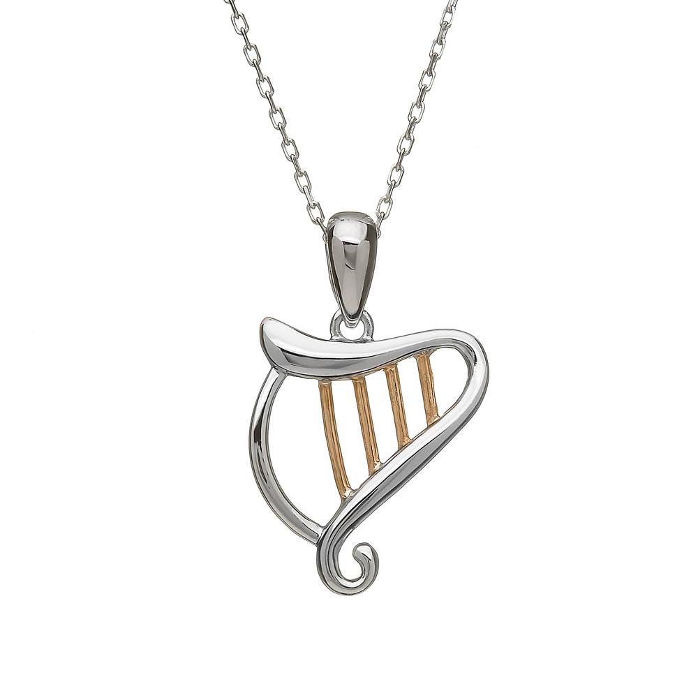 silver and rare Irish rose gold Celtic Harp pendant.