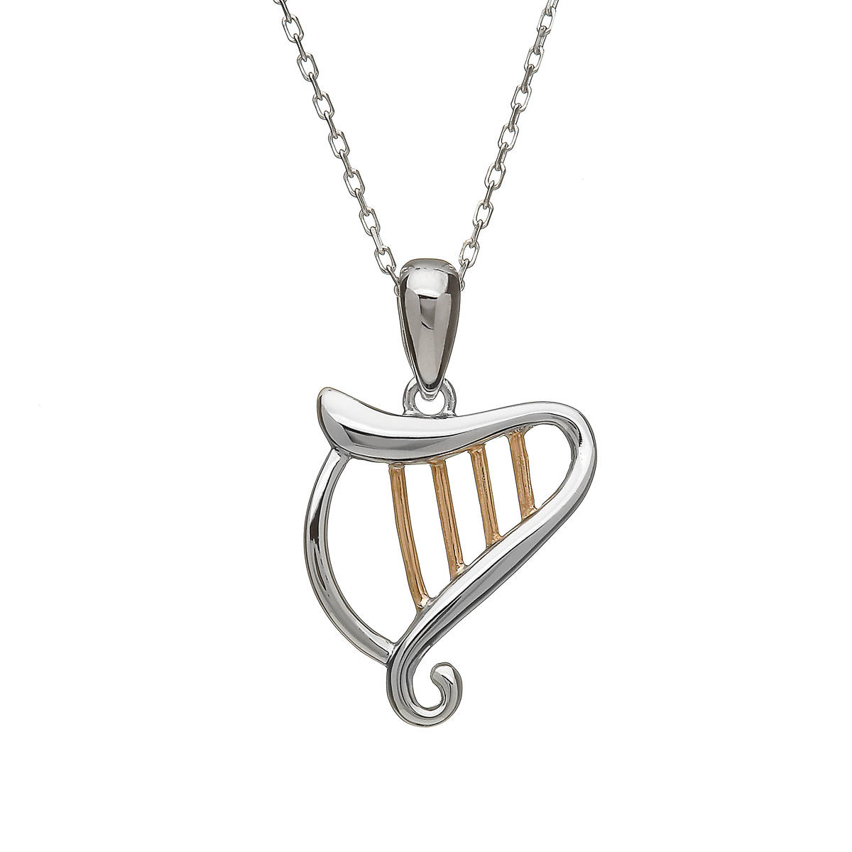 silver and rare Irish rose gold Celtic Harp pendant with strings made from gold.