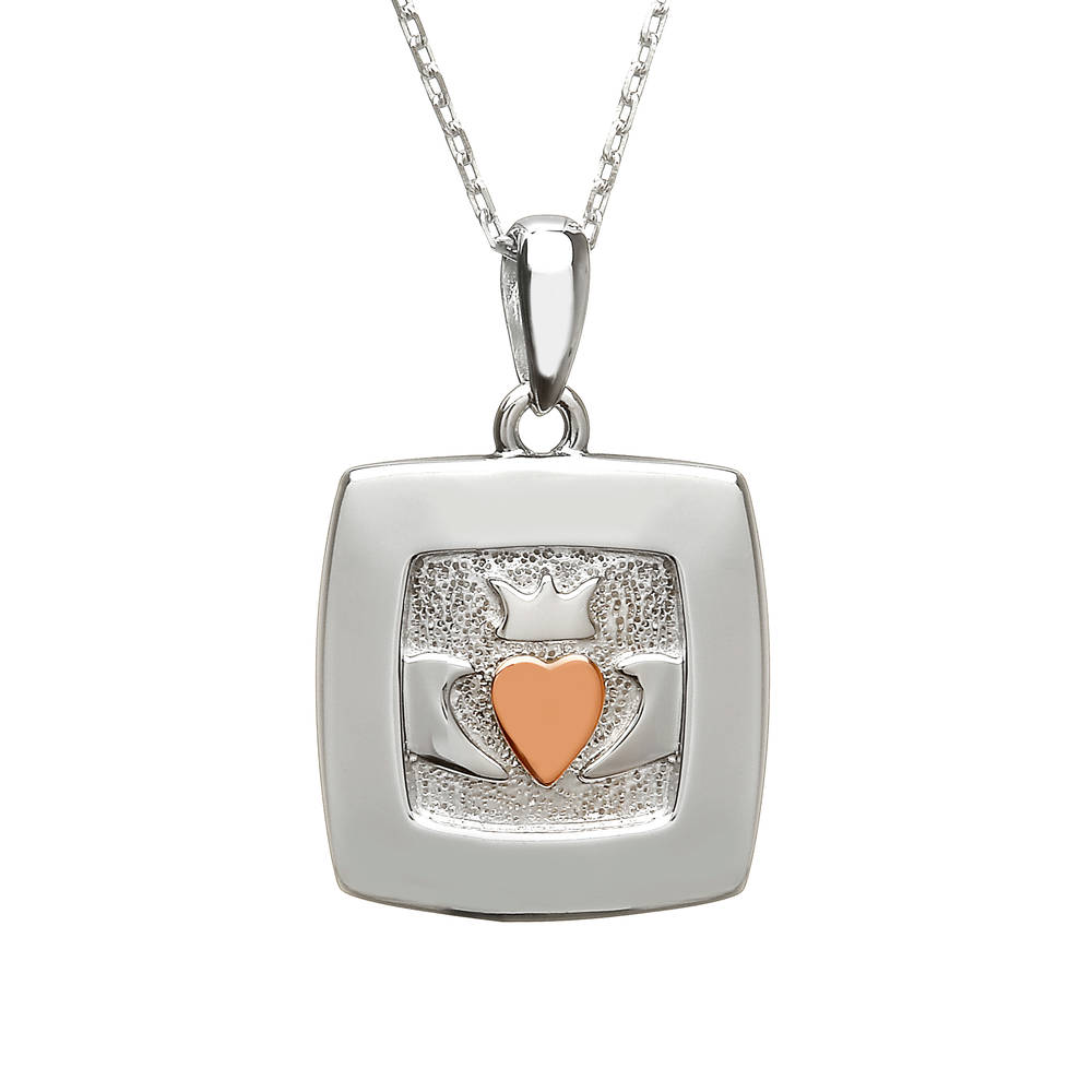silver and rare Irish rose gold square Claddagh pendant.