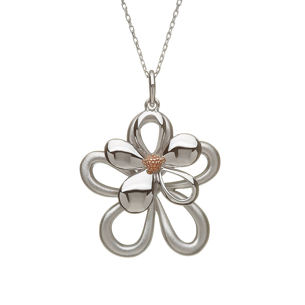 silver and rare Irish rose gold double petal pendant
