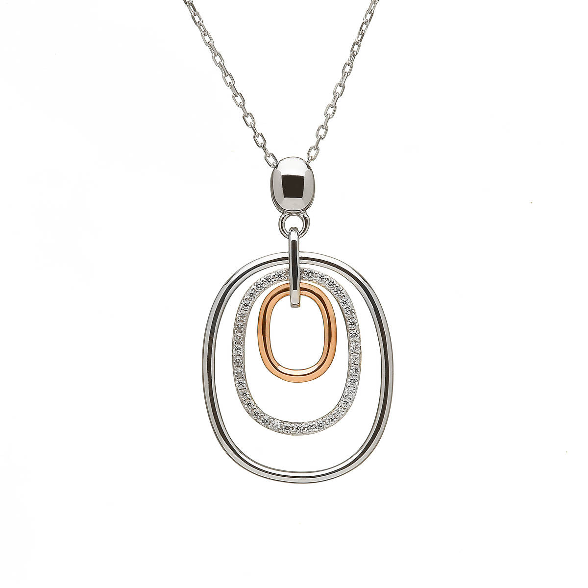 silver and rare Irish rose gold oval drop pendant with czs