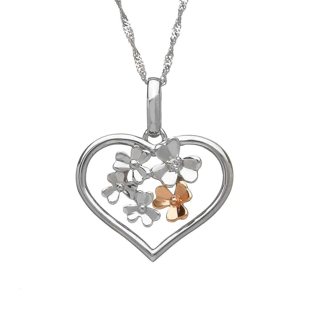 diamond set 9ct white gold love shamrock open heart pendant