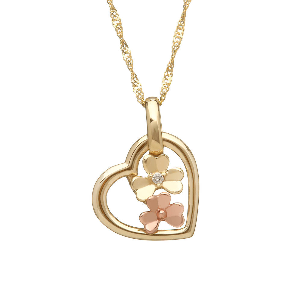 diamond set 9ct yellow gold love shamrock open heart pendant
