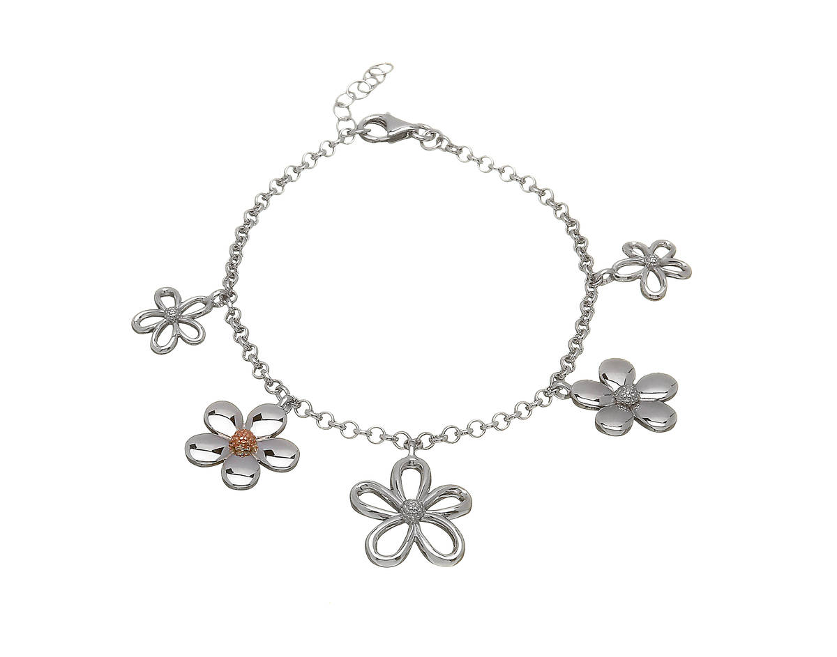 silver and rose gold petal bracelet with rare Irish gold