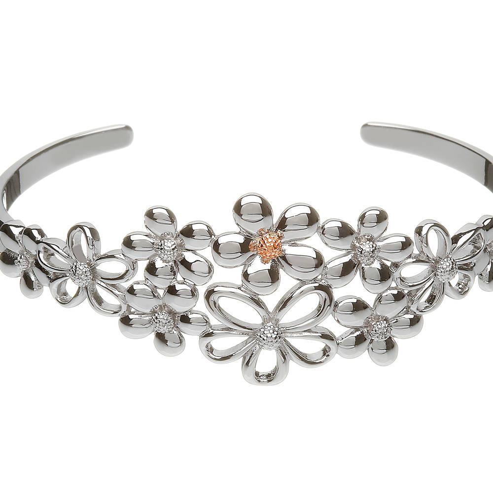 silver and rose gold petal bangle
