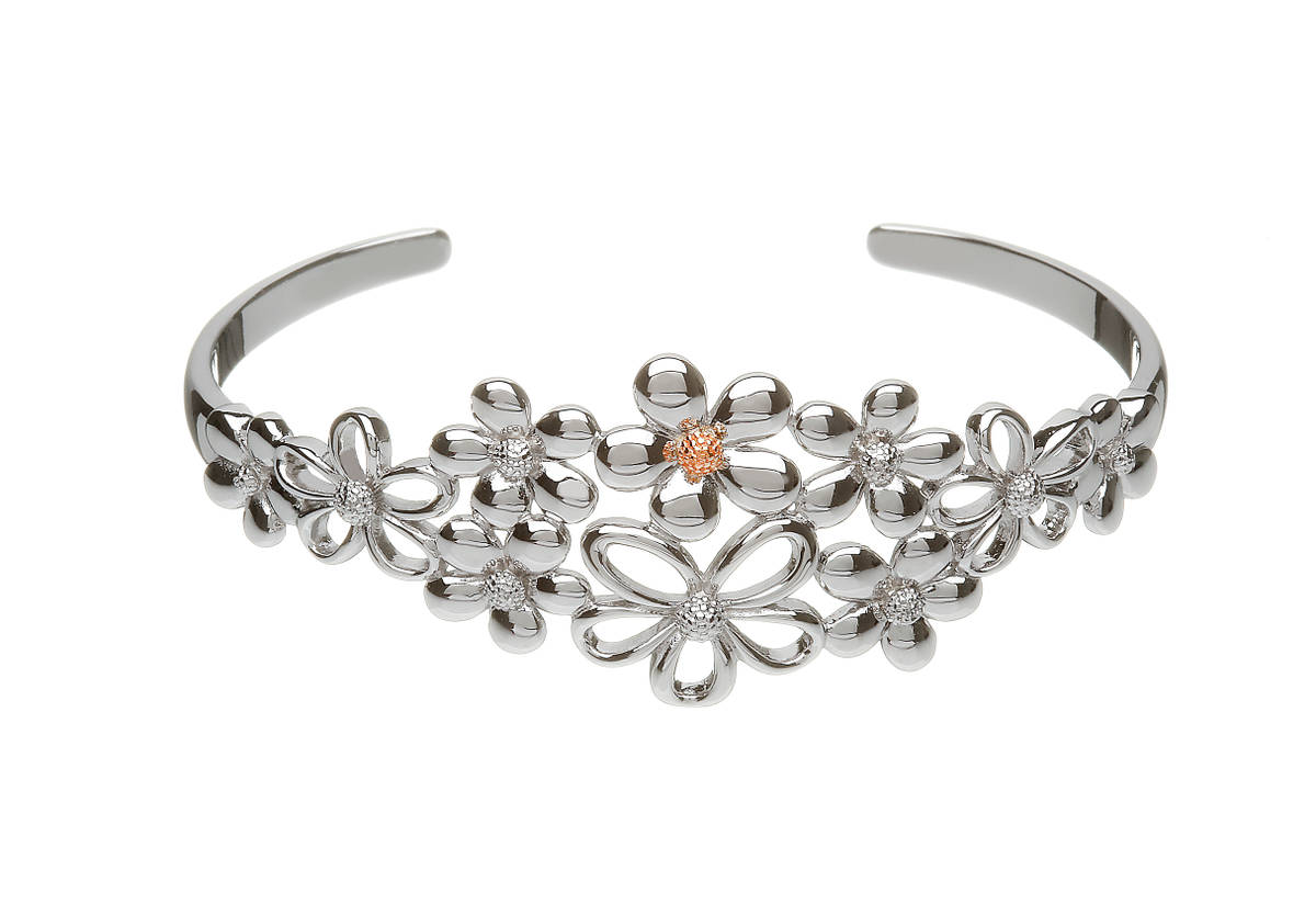 sterling silver and rose gold petal bangle with rara Irish rose gold centre