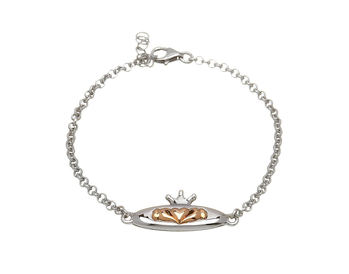 silver and rare Irish rose gold Claddagh bracelet