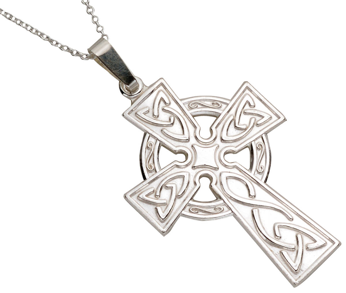 """Silver Large Di Stamped Celtic Cross On 18"""" Trace Chain"""