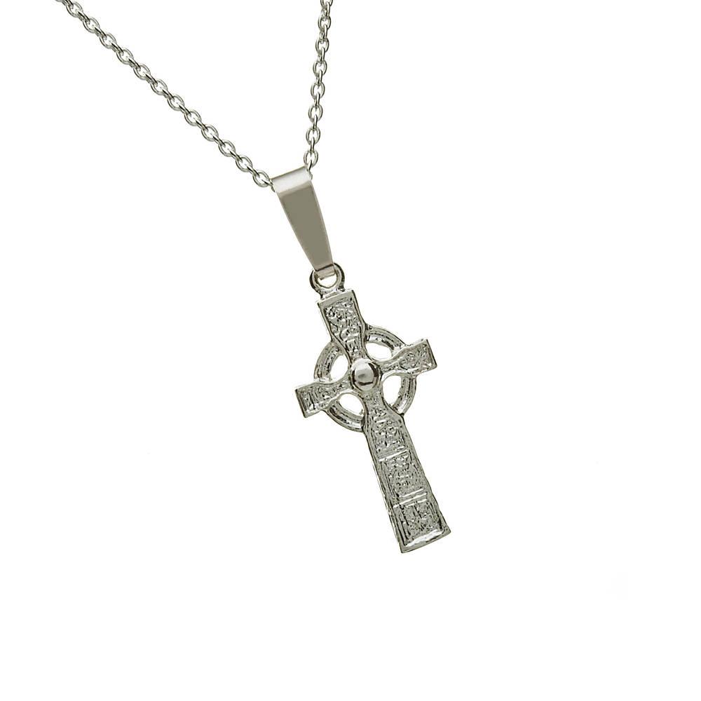 """Silver Small Carandonagh Cross 18"""" Trace"""