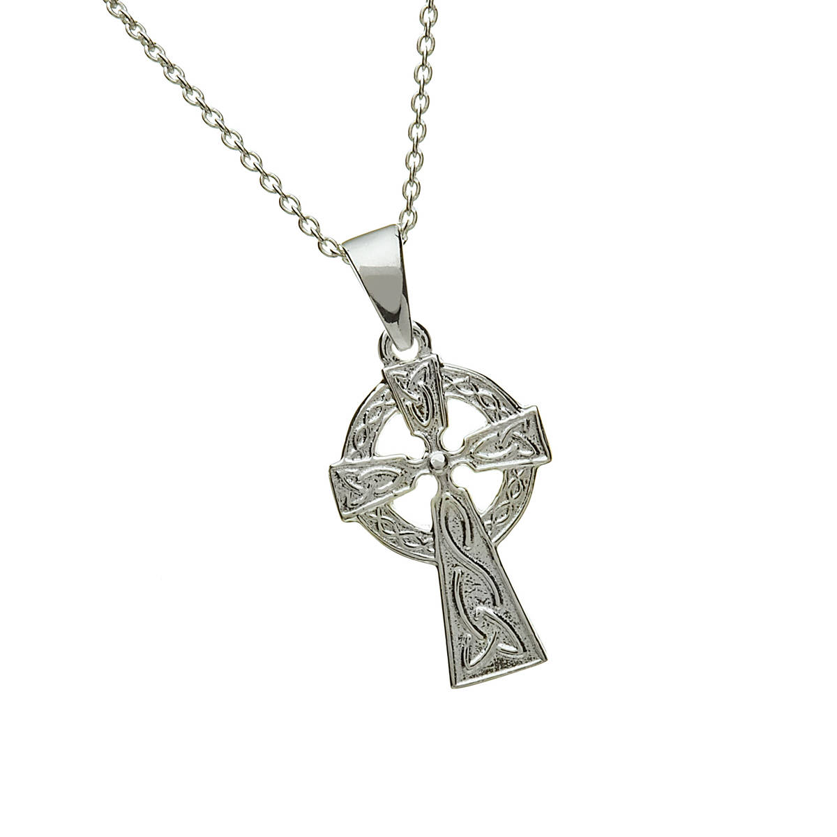 Silver Double Sided Celtic Cross On 18 Trace Ch 18mx13m