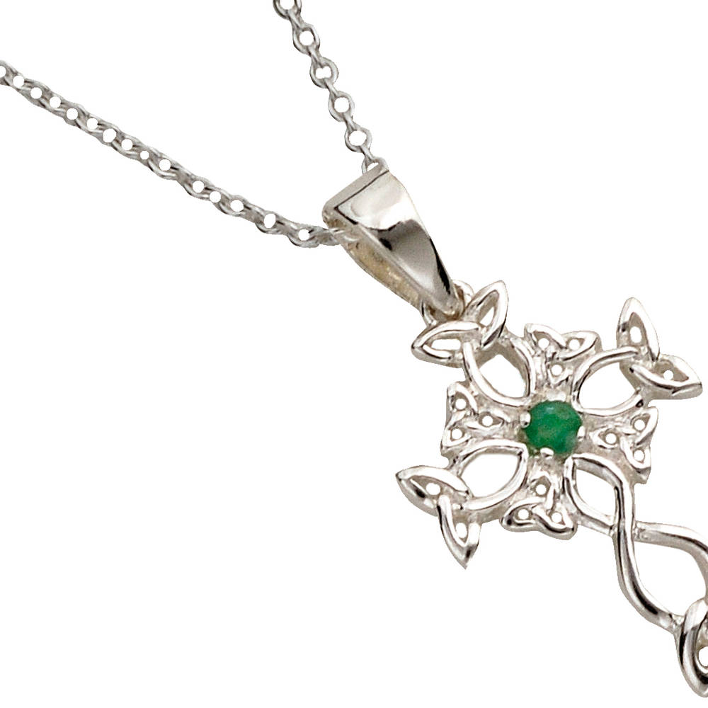 Silver Celtic Cross With Emerald Centre