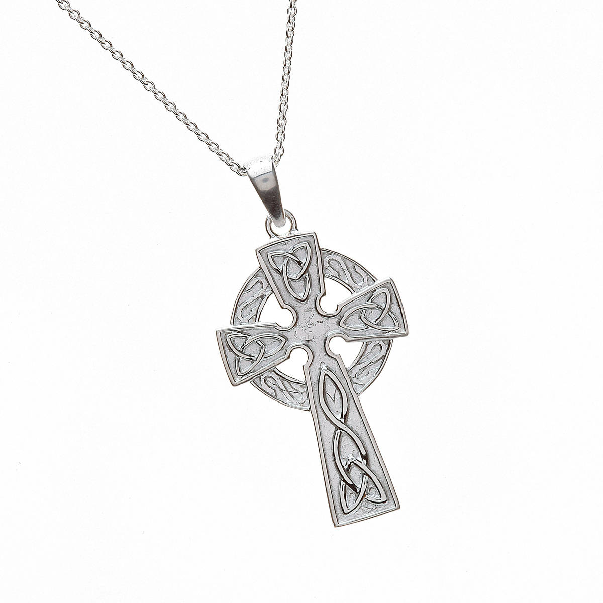 """Silver Classic Celtic Cross With Carved Detail On 18"""" Trace Chain"""