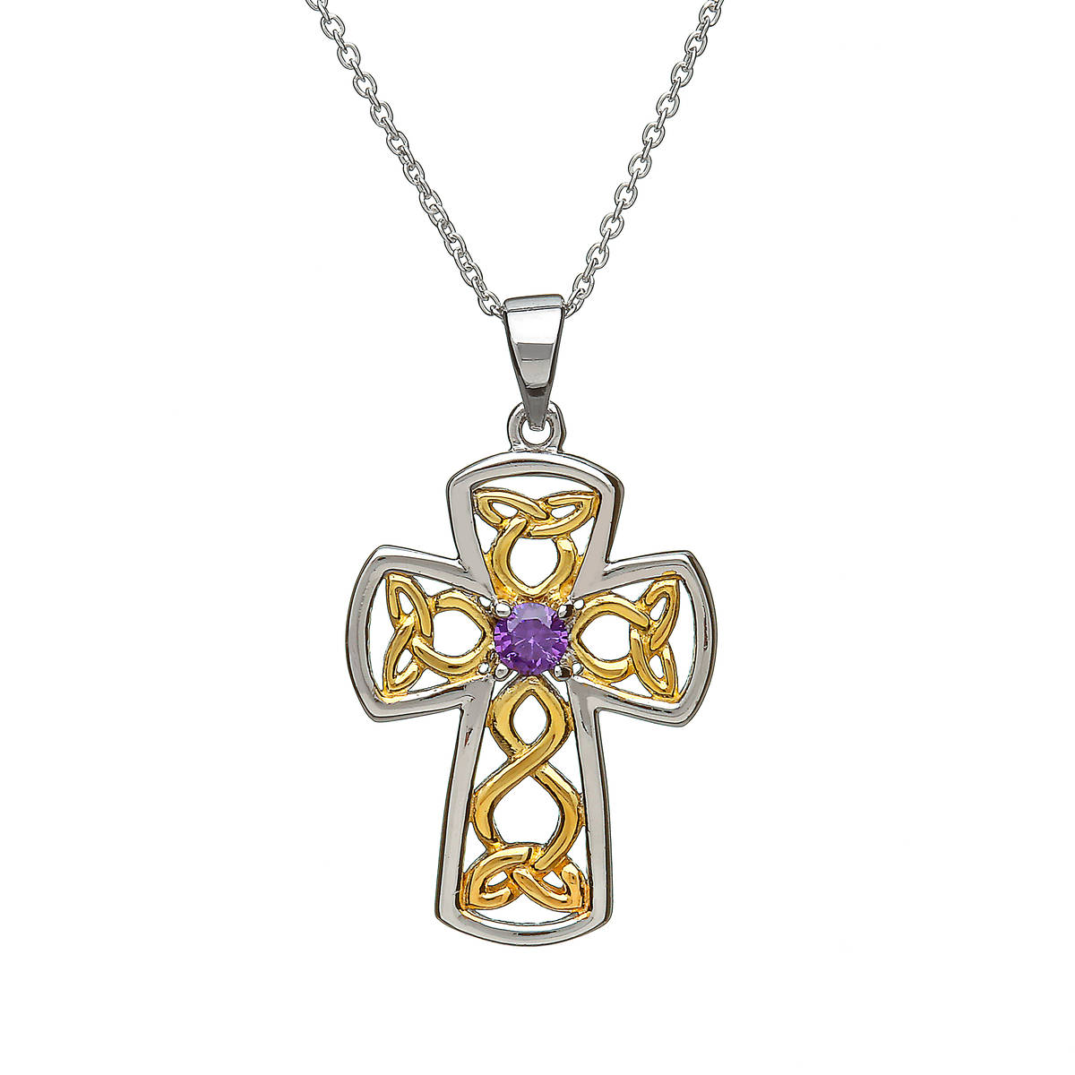 Silver Celtic Open Filigree Cross With Gp + Amy Cz