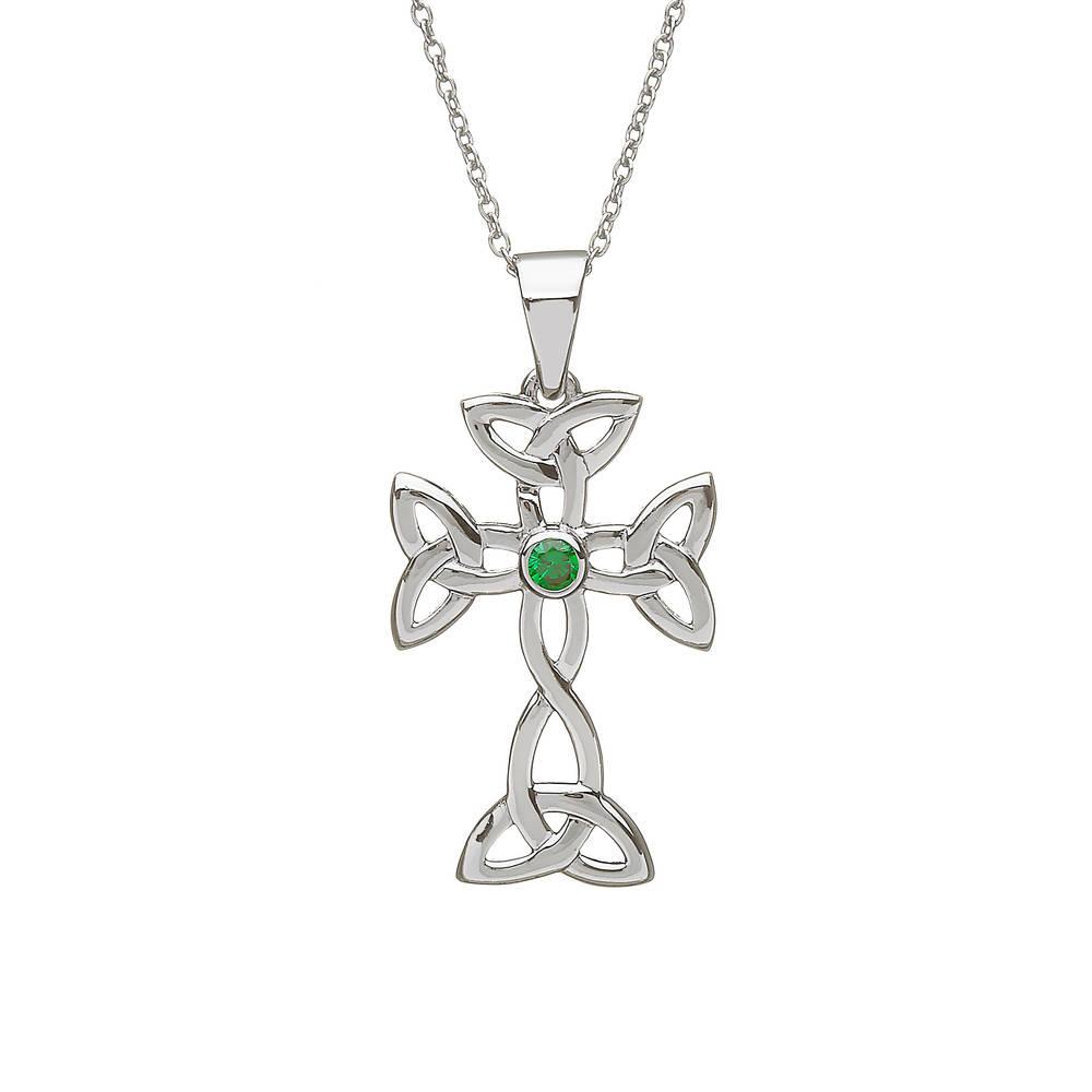 Silver Celtic trinity Cross Green Agate