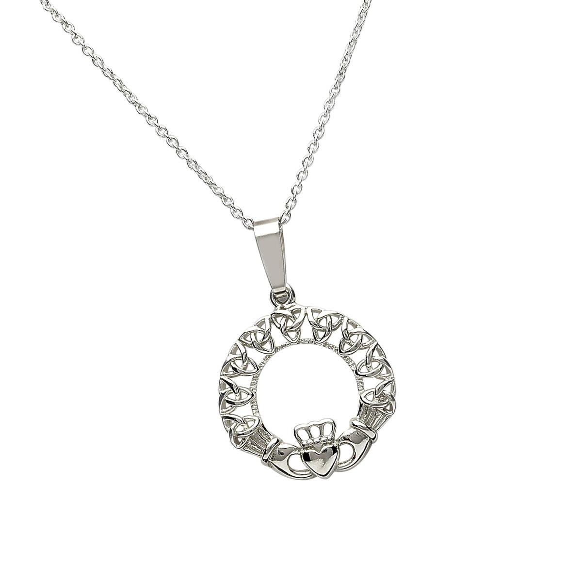 Silver Claddagh Trinity Knot Pendant