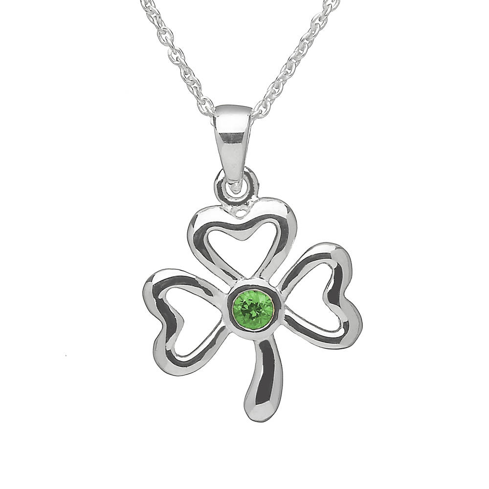 Silver Shamrock Pend With Green Stone
