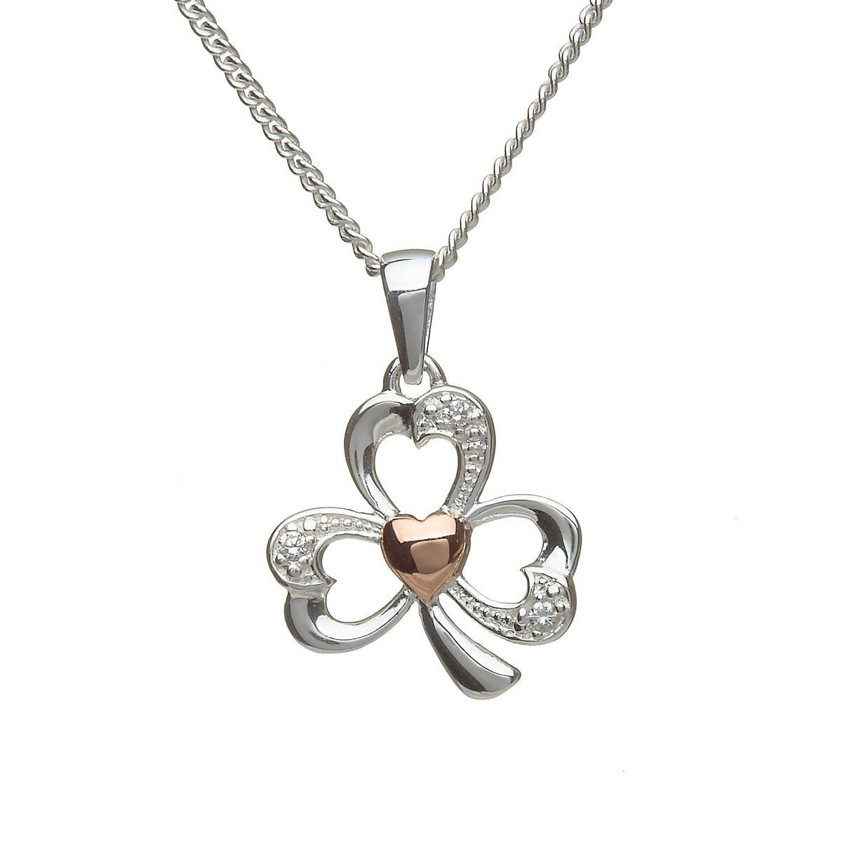 Silver Cz Rose Gold Plated Heart Shamrock Pendant