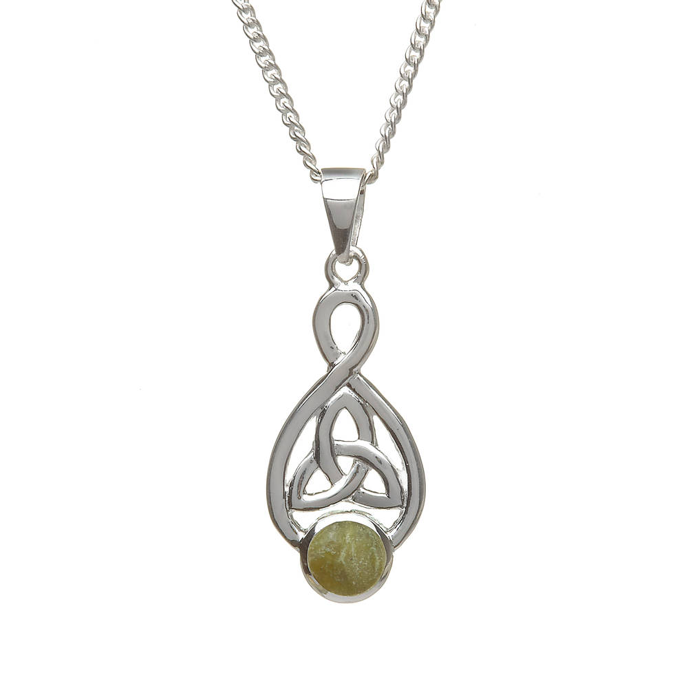 Silver Trinity Knot Pendant With Marble