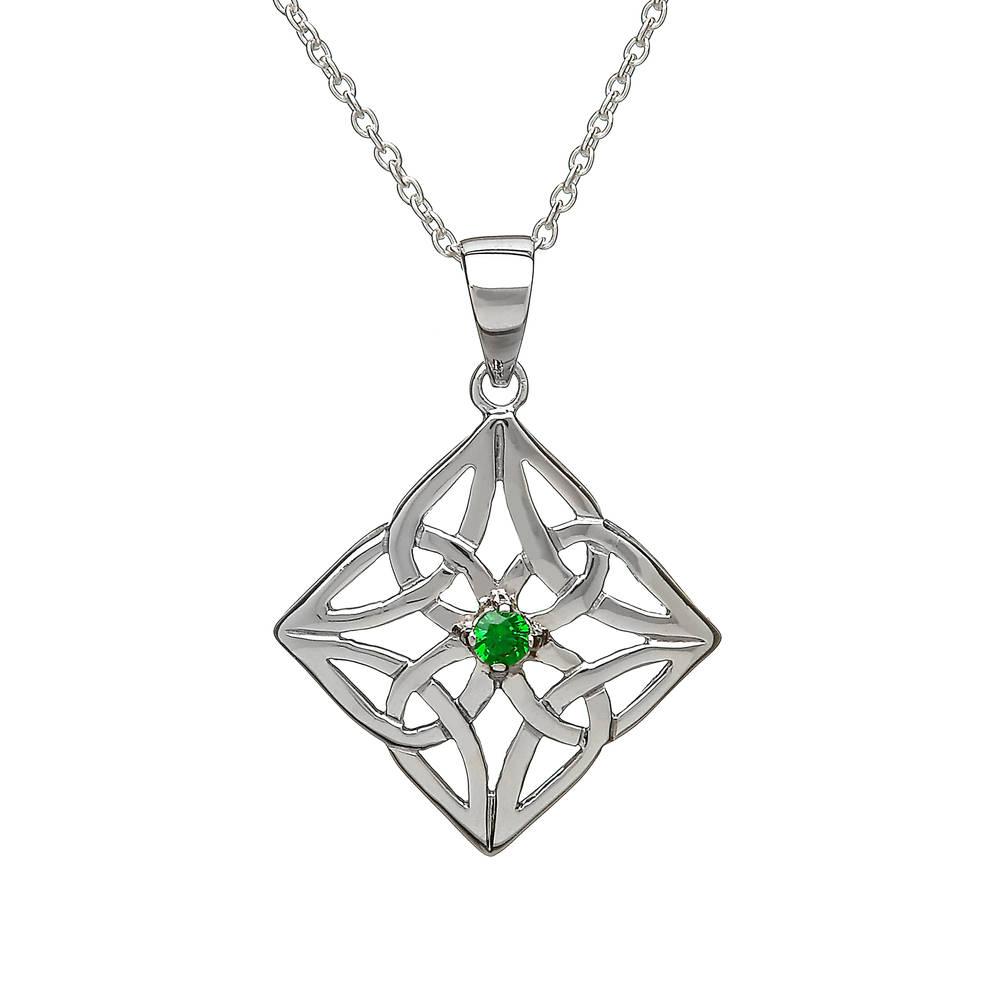 Silver Diamond Shape Celtic Pendant