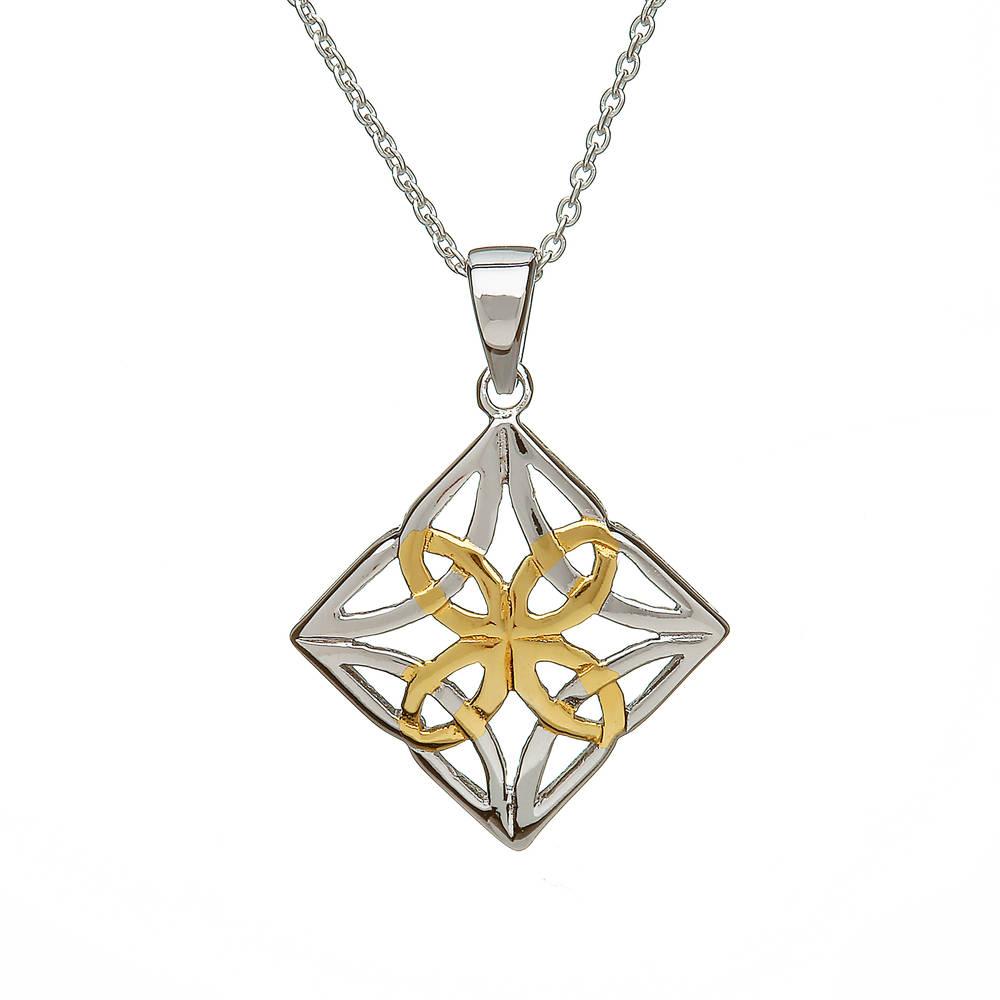 Silver Pendant Diamond Shape Centre