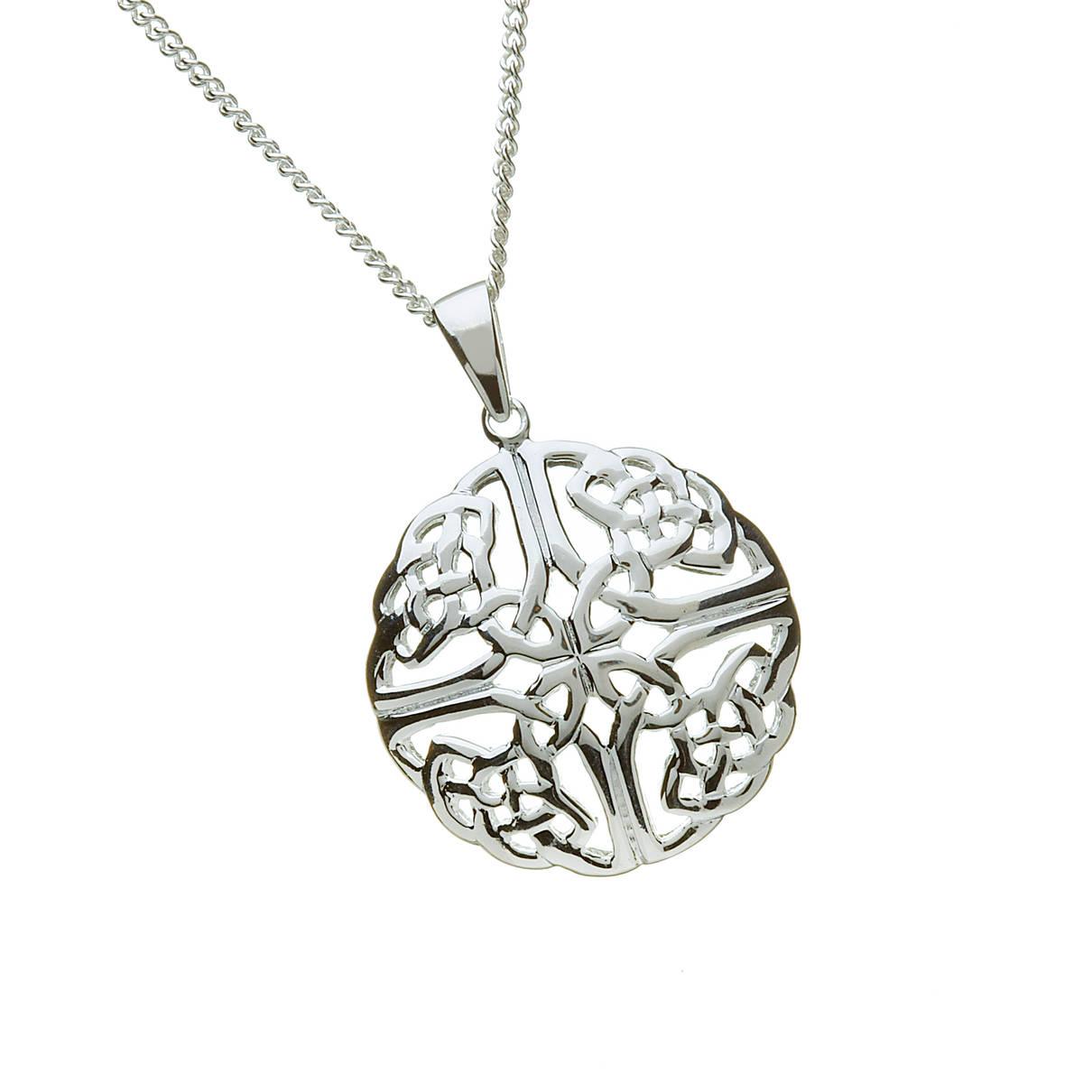 """Silver Celtic Round 18"""" Chain Pendant"""