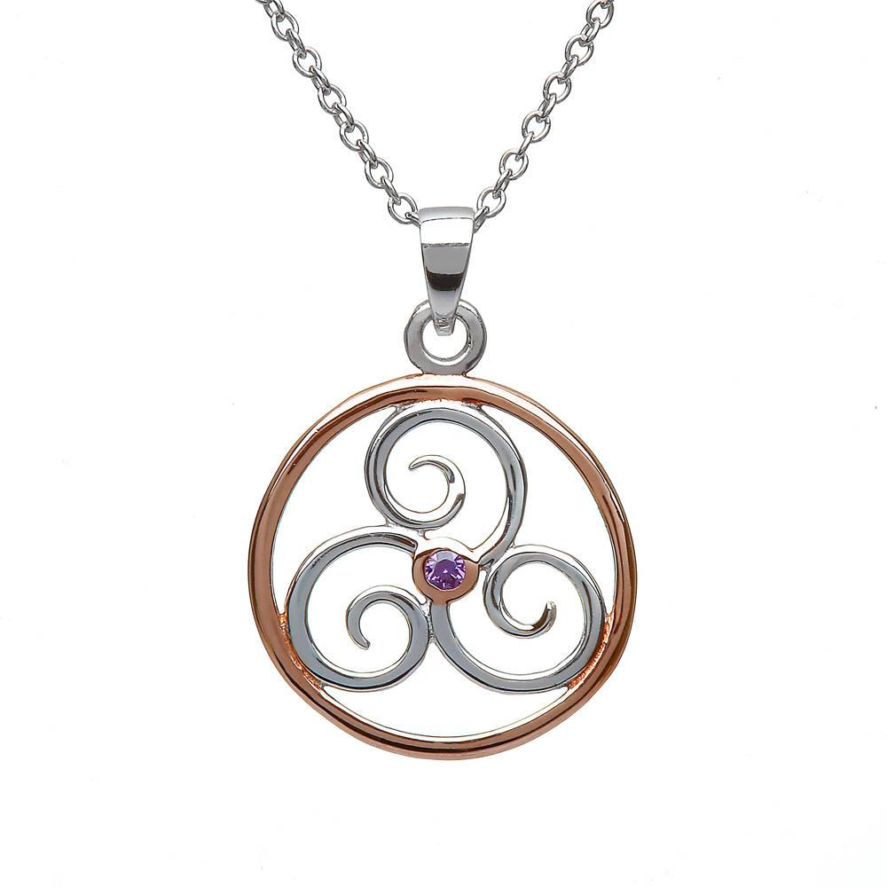 Silver Rp Celtic Circle Amethyst  Pendant