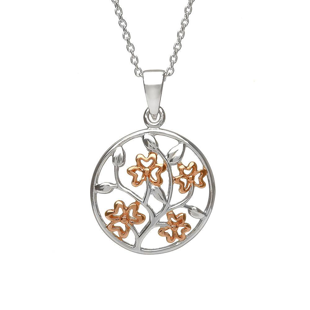 Silver Celtic Circle Shamrocks Pendant