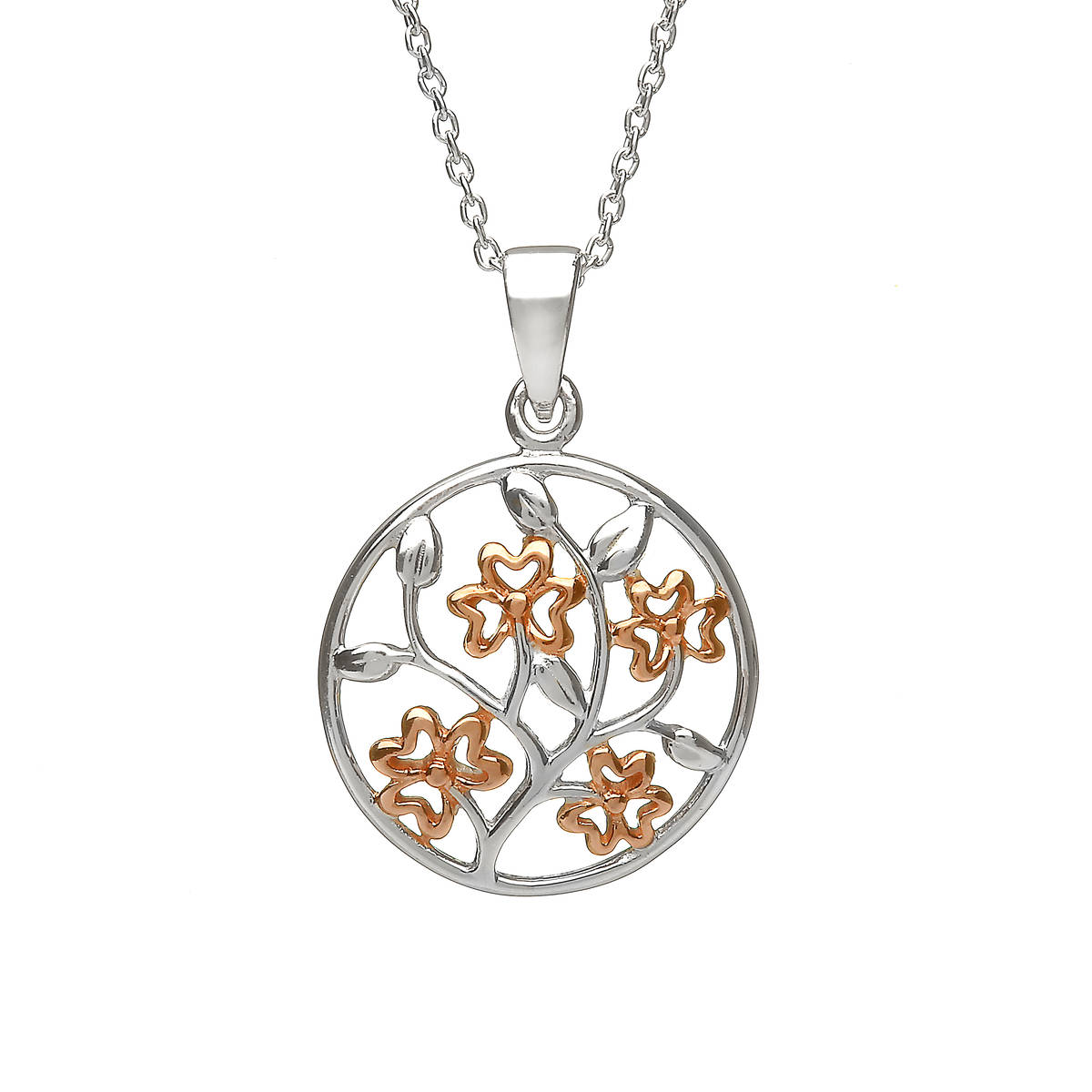 Silver Celtic Circle With Rose Gold Plated Shamrocks In Centre Pendant