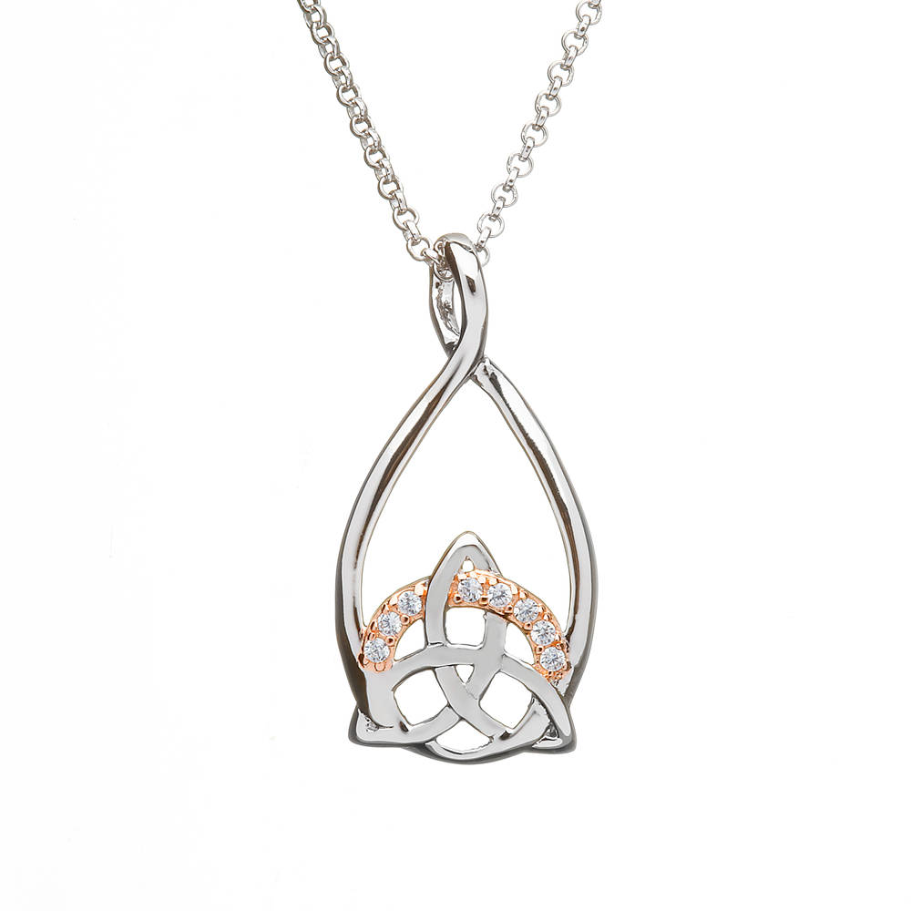 Silver Trinity Pendant With Cz Setting